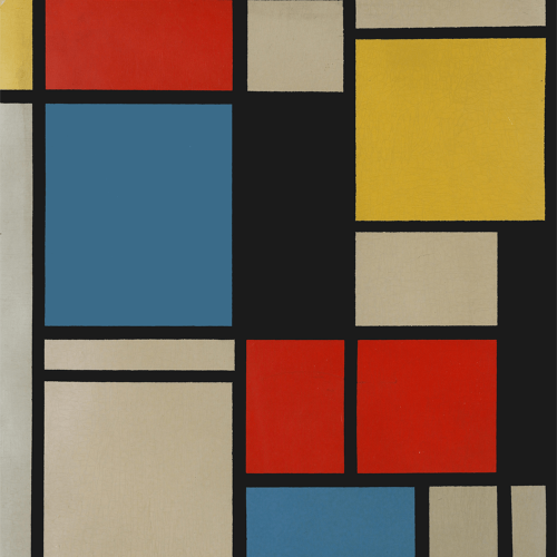 Ater Piet Mondrian Composition in blue red and yellow Lithograph in colours