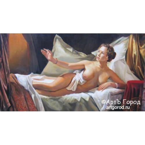 свободная копия картины Ребмрандта Даная