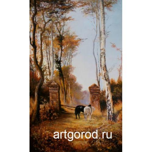 копия картины В. Поленова В парке. Местечко Вель в Нормандии