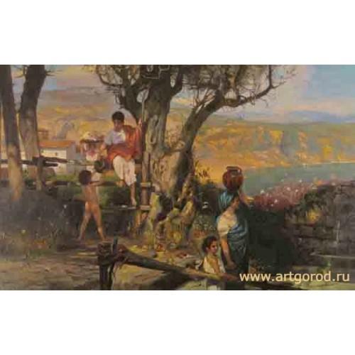 """копия картины Г. Семирадского """"Римская деревня"""""""